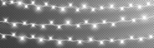 Christmas Lights String. Silver Garlands On Transparent Background. Luminous Light Bulbs For Poster. Realistic Glowing Elements For Greeting Card. Vector Illustration