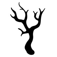 Dry Bare Tree Branch Vector Icon. Black Silhouette Of Twigs Isolated On White Background. Hand-drawn Botanical Sketch. Leafless Sprig. Monochrome Natural Concept Art For Decoration And Design.