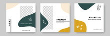 Set Of Minimal Editable Social Media Post Templates With Earth Tone Pallette Color Accent. Minimalistic Modern Business Banner Graphics For Online Advert Or Facebook And Instagram, Rounded Shapes