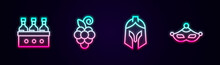 Set Line Bottles Of Wine, Grape Fruit, Roman Army Helmet And Carnival Mask. Glowing Neon Icon. Vector