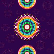Colorful Mandala Hang On Purple Fireworks Pattern Background.