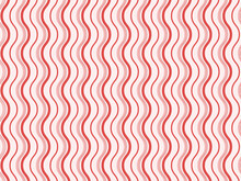 Abstract Wavy Lines Pattern Background In Red Color.