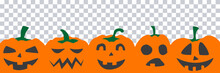 Halloween Party Banner With Black Scary Pumpkin Face Isolated On Png Or Transparent Background, Space For Text, Sale Template ,website, Poster, Vector Illustration