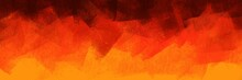 Brushed Abstract Background Pattern In Orangish Flame-themed Color. Orange And Black Painted Texture Elements For Creative Design.