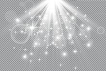 Vector Isolated Spotlight. Light Effect. Transparent Sunlight.