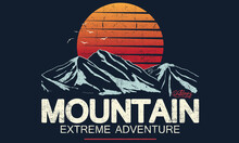 Mountain Vintage Graphic Print Design For Apparel, Poster, Sticker And Others.