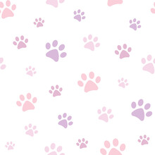 Purple And Pink Vector Paw Pattern For Pets.