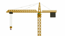 Three-dimensional Model Of A Tower Crane On A White Background. 3d Render Illustration