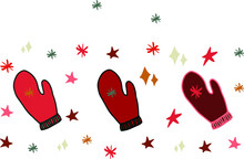 Christmas Decorations Christmas Mittens Isolated Vector Elements. Christmas Doodles