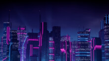 Cyberpunk Cityscape With Blue And Pink Neon Lights. Night Scene With Advanced Superstructures.