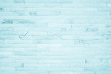 Pastel Blue And White Brick Wall Texture Background. Brickwork Painted Of Blue Color Interior Design Backdrop Decoration.