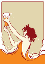 Art Nouveau Style Background With Beer, Vector Illustration