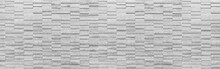 Panorama Of Rough Surface White Sandstone Wall Tiles Texture And Background Seamless