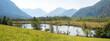canvas print picture - Pfrühlmoos bei Eschenlohe, an den Sieben Quellen, mit Blick zur Zugspitze