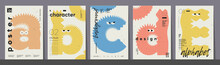 Poster Layout Design. Letters A,B,C,D,E. Alphabet. Cute Monsters. Template Poster, Banner, Flyer.