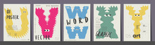 Poster Layout Design. Letters U,V,W,X,Y. Alphabet. Cute Monsters. Template Poster, Banner, Flyer.