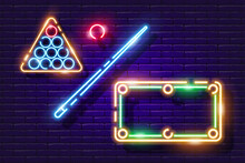 Billiard Ball, Cue And Table Neon Icon. Vector Illustration For Design. Sports Concept. Signboard For Pool Club.