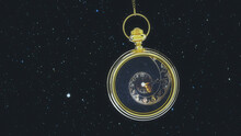Pendulum Of Pocket Watch Against The Background Of The Starry Sky. 3D