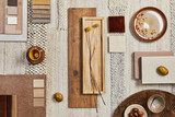 Fototapeta Kawa jest smaczna - Flat lay design of creative architect moodboard composition with samples of building, beige textile and natural materials and personal accessories. Top view, template.