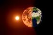 Klimawandel, globale Erwärmung Konzept. Erdball verbrennt durch die Sonneneinstrahlung. Erdkarte von NASA gov. 3D illustration.