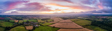 Panorama Of Sunset Over The Fields From Drone, Berry Pomeroy Village, Devon, England, Europe