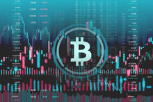 Bitcoin Coin On Abstract Financial Market Stock Charts Trading Screen Monitor Background.