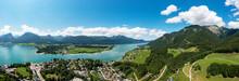 Schafberg Mountain Range With Lake Wolfgangsee On Sunny Day, Abersee, Salzkammergut, Salzburg, Austria