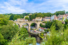 A View Over The River Nidd And Viaduct In The Town Of Knaresborough In Yorkshire, UK In Summertime
