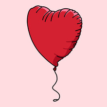 Red Heart Shaped Balloon On Pink Background