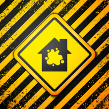 Black Painting The House Icon Isolated On Yellow Background. Warning Sign. Vector