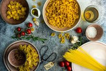 Italian Pasta Cooking Concept With Variety Of Pasta