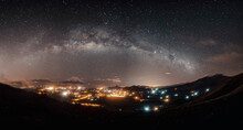 The Milky Way Cover A Little Town In Mountains With The Star Lights