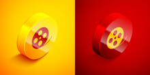 Isometric Film Reel Icon Isolated On Orange And Red Background. Circle Button. Vector