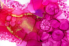 Watercolor Pink Bubbles Texture. Circles Aquarelle Pattern With Gold Dust.