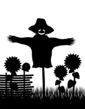 Garden Scarecrow With A Pumpkin Head Vector Illustration