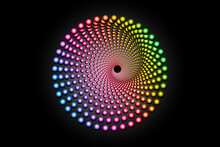 3D Colorful Halftone Dots Circle, Spiral Pattern Round Logo Template, Vector Dotted Frame. Spectrum Gradient Color Mandala Design Element Isolated On Black Background
