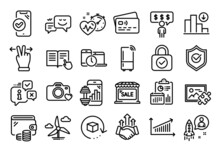 Vector Set Of Cardio Training, Decreasing Graph And Startup Line Icons Set. Calendar Report, Money Wallet And Credit Card Tag. Fitness App, Windmill Turbine And Chart Icons. Vector