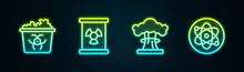 Set Line Infectious Waste, Radioactive In Barrel, Nuclear Explosion And Atom. Glowing Neon Icon. Vector