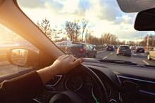 Driving A Car In A Traffic Jam