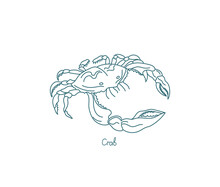 Crabs Are Decapod Crustaceans. Open Paths. Editable Stroke. Custom Line Thickness.