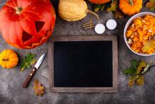 Process Of Making Halloween Jack-o-lantern