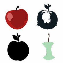 Apple Logo Icon Sign Apple Core Fruit Food Symbol Hand Drawn Ink Sketch Decorative Set Cartoon Natural Style Design Fashion Print Clothes Apparel Greeting Invitation Card Cover Flyer Poster Banner Ad
