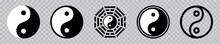 Yin Yang Icon Set, Yin And Yang Symbol Isolated On Transparent Background. Vector Illustration