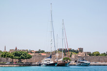 Rhodes Old Town. View From The Sea. Greece