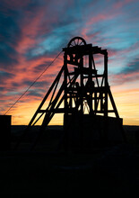Silhouette At Dusk Of Magpie Mine Near Sheldon In The Peak District, Derbyshire, England
