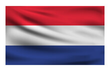 Realistic National Flag Of Netherlands. Current State Flag Made Of Fabric. Vector Illustration Of Lying Wavy Cloth In National Colors Of Netherlands.