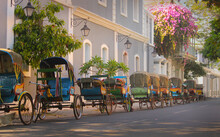 Vintage Tricycle Carts On French Style Street At A Union Territory On South India. Rickshaws On Puducherry Street.
