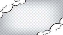 Comic Frame Background. Boom, Pow Effect. Explosion With Puffs Of Smoke.