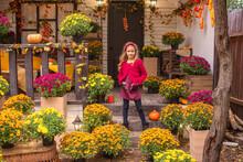 Autumn Portrait Of A Little Cute Girl