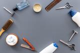Fototapeta Kawa jest smaczna - Shaving tools with barber razor and hairdressing scissors. Top view